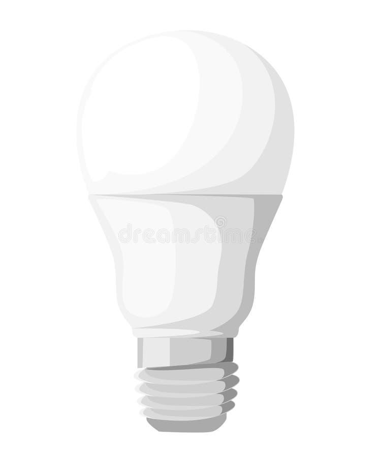 Ilustração do vetor de tipos bondes principais da iluminação: ampola incandescente, lâmpada do halogênio, cfl e lâmpada conduzida ilustração do vetor