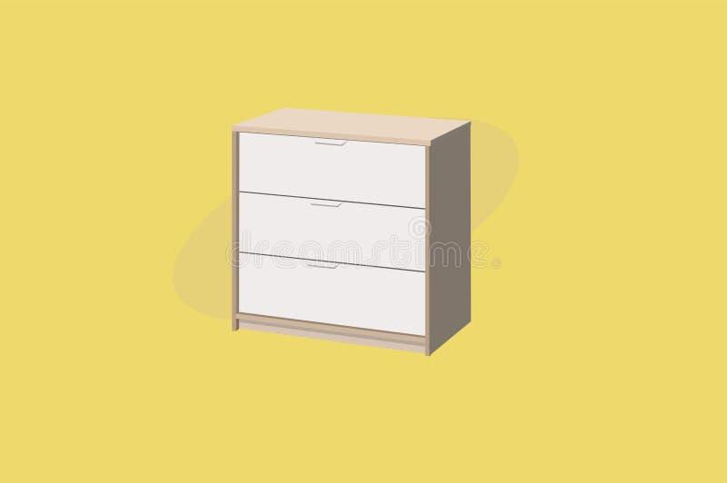 Ilustração do vetor de um armário ou de um vestuário com 3 gavetas Mob?lia de madeira ilustração stock
