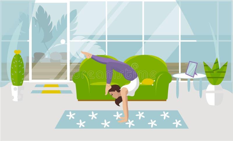 Ilustração do vetor de um Asana no pino na ioga Jovem mulher bonita que faz exercícios da força em casa na ilustração do vetor