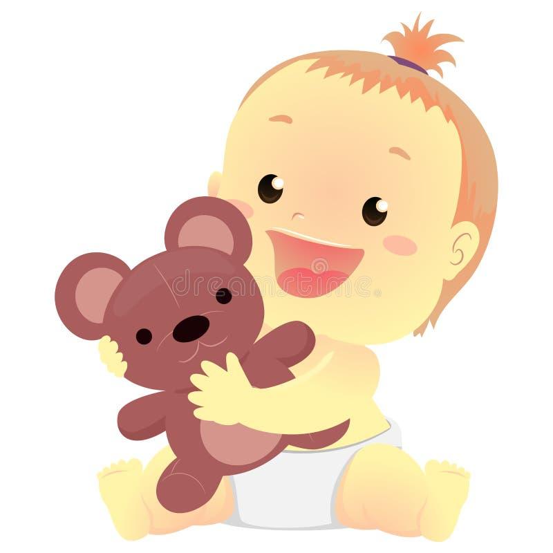 Ilustração do vetor de um bebê que guarda um brinquedo do material do urso de peluche ilustração royalty free