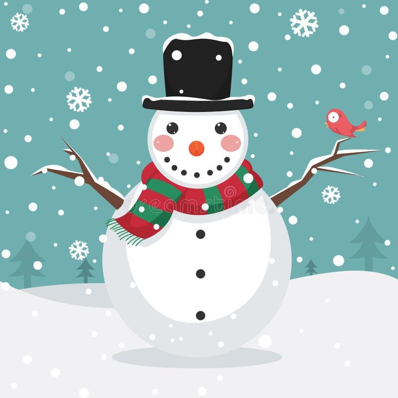 Ilustração do vetor de um boneco de neve ilustração do vetor