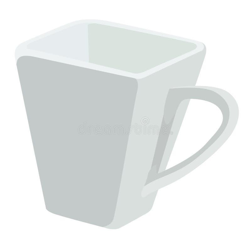 Ilustração do vetor de um copo cerâmico branco em um fundo branco ilustração stock