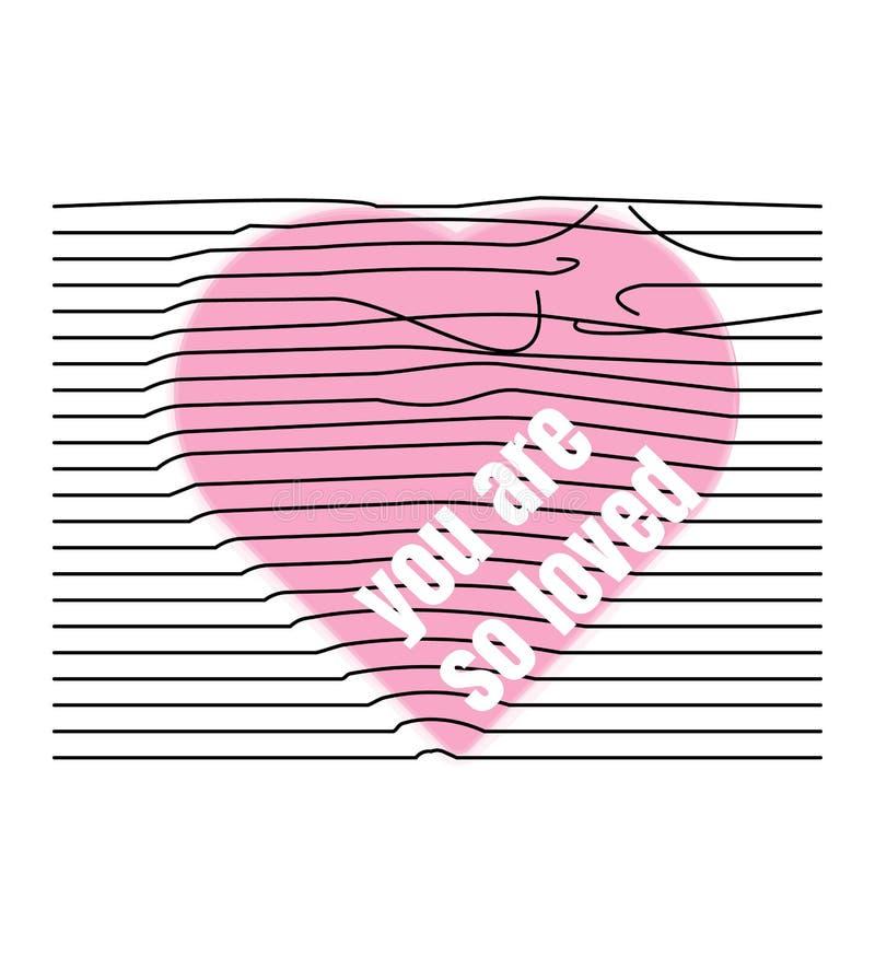 Ilustração do vetor de um coração cor-de-rosa com linhas rasgadas, para imprimir em t-shirt, roupa interior Esp10 ilustração do vetor