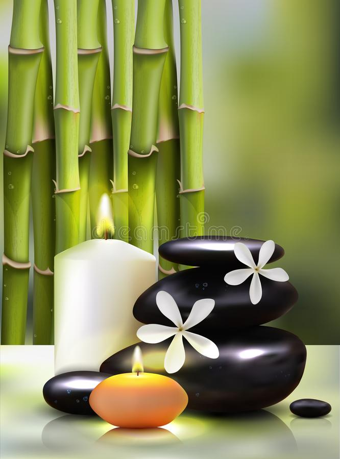 Ilustração do vetor de um estilo realístico velas no fundo dos tiros de bambu Cartaz verde excelente da propaganda ilustração royalty free