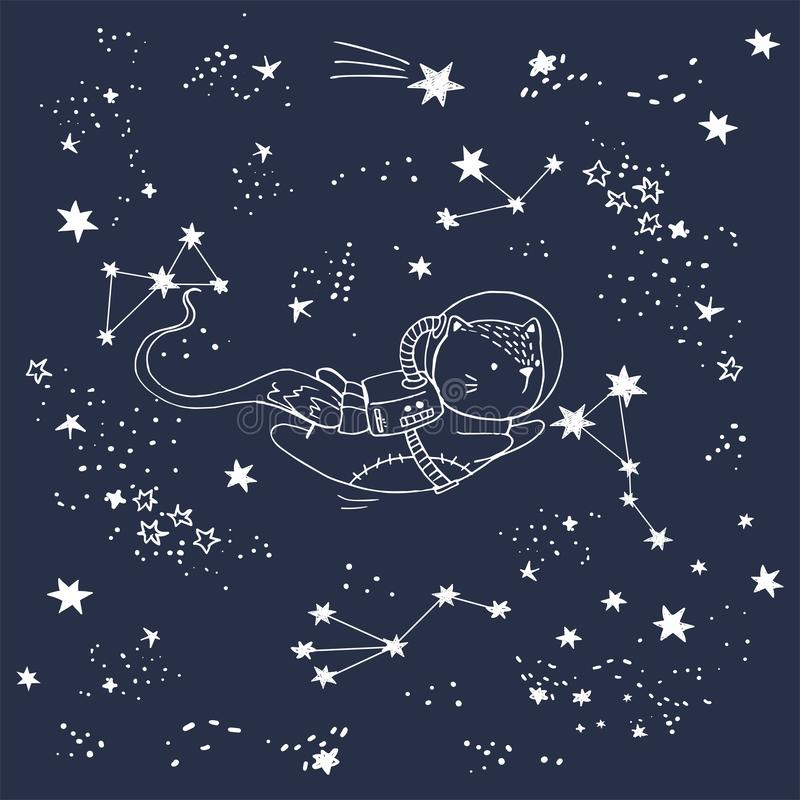A ilustração do vetor de um gato no espaço com constelações, estrelas de tiro, cartão tirado mão, pode ser usada como a cópia par ilustração do vetor