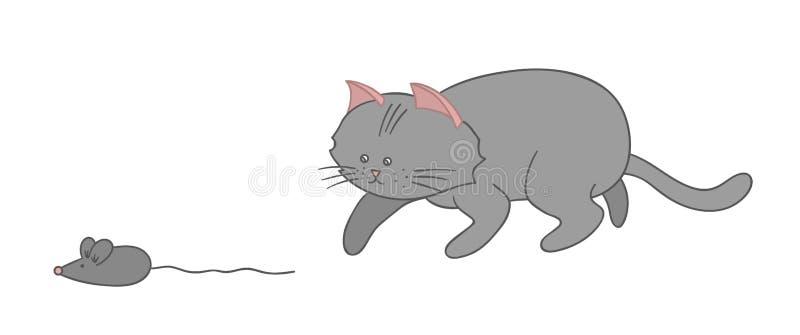 Ilustração do vetor de um gato que caça um rato ilustração royalty free