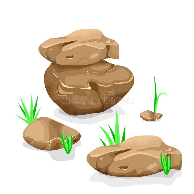 Ilustração do vetor de um grupo de pedregulhos, de pedras e de pedras separados dos desenhos animados de várias formas, com as lâ ilustração stock