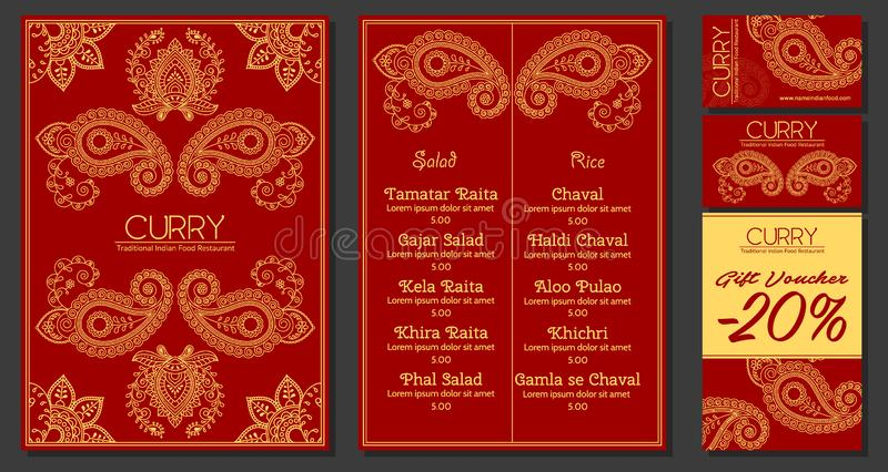 Ilustração do vetor de um menu para uma culinária oriental indiana do restaurante ou do café, cartões e comprovantes Desenhado à  ilustração do vetor