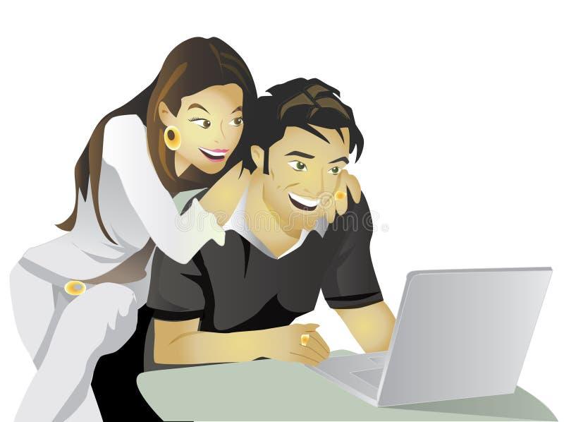 Computador do compromisso dos pares do planeamento do casamento imagens de stock