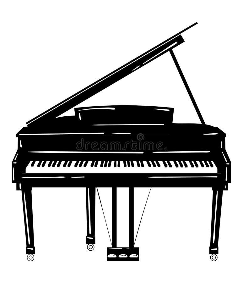 Ilustração do vetor de um piano Instrumento musical do teclado Piano de cauda estilizado Emblema musical Logotipo preto e branco ilustração royalty free