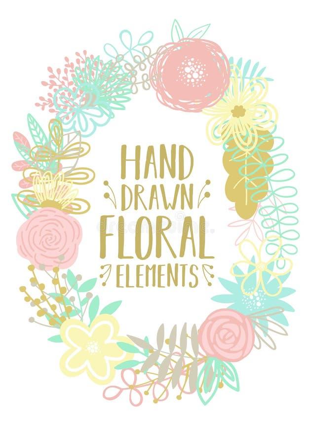 Ilustração do vetor de um quadro oval feito dos elementos florais desenhados à mão dos desenhos animados Uma imagem para a decora ilustração stock