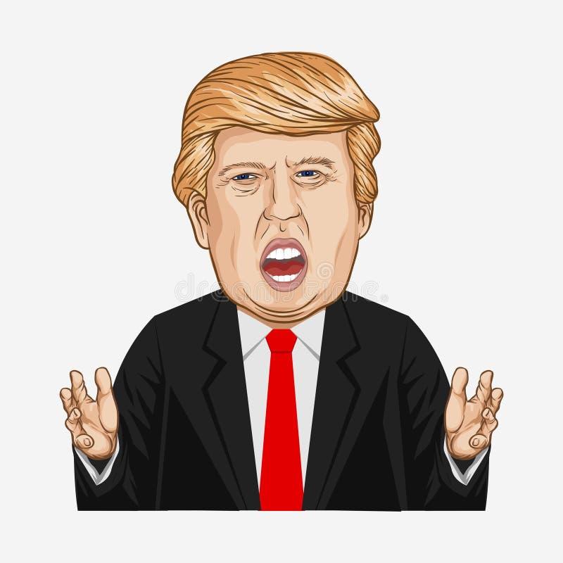 Ilustração do vetor de um retrato de Donald John Trump ilustração royalty free