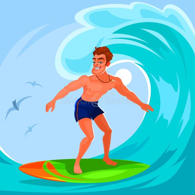 Ilustração do vetor de um surfista ilustração do vetor