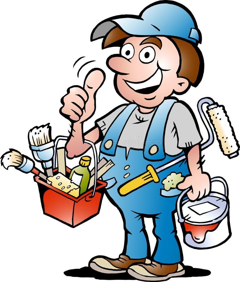 Ilustração do vetor de um trabalhador manual feliz do pintor ilustração stock
