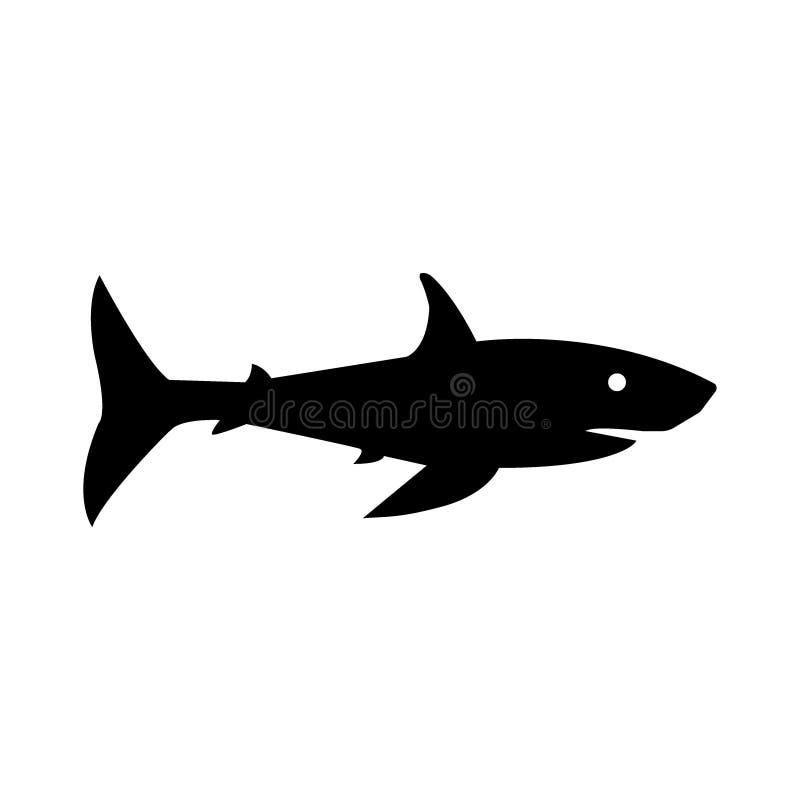 Ilustração do vetor de um tubarão preto da silhueta ilustração do vetor