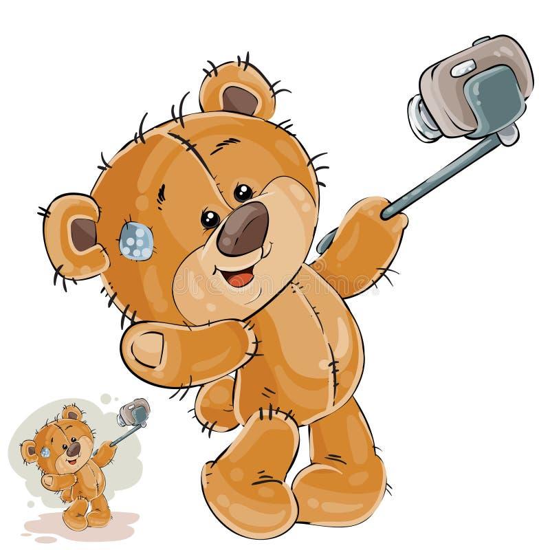 A ilustração do vetor de um urso de peluche marrom faz sua foto do selfie em um smartphone ilustração stock
