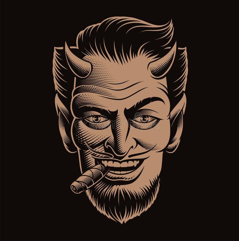 Ilustração do vetor de uma cara do diabo que fuma um charuto fotografia de stock