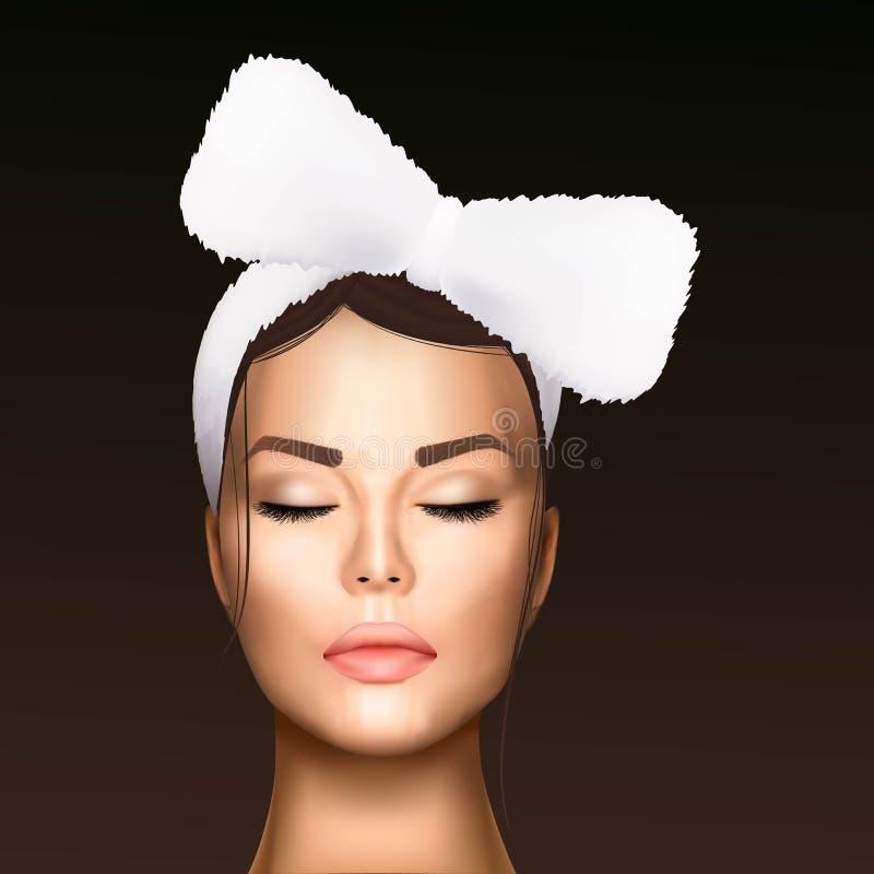 Ilustração do vetor de uma cara realística de uma menina bonita nova com uma atadura cosmética em seu cabelo ilustração do vetor