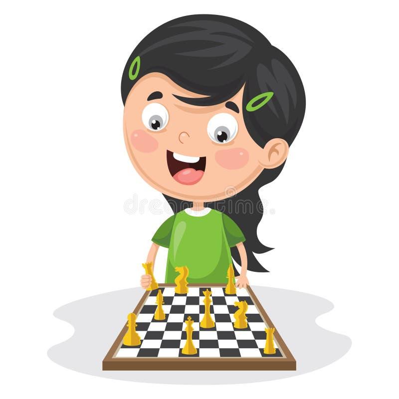 Ilustração do vetor de uma criança que joga a xadrez ilustração stock