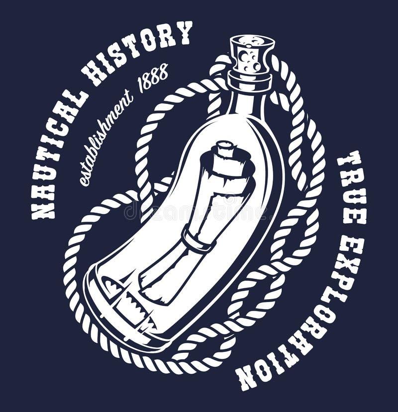 Ilustração do vetor de uma garrafa com uma mensagem ilustração royalty free