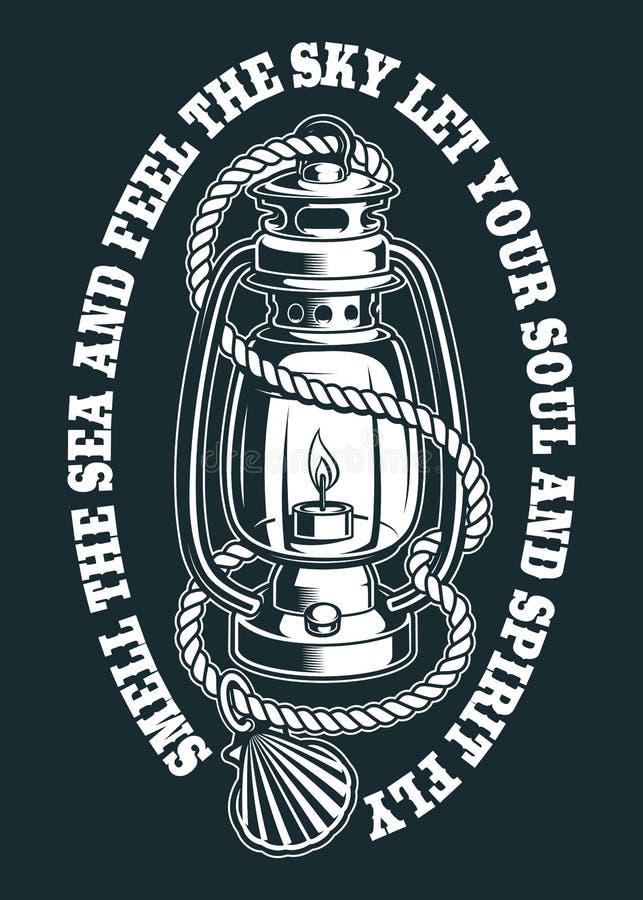Ilustração do vetor de uma lâmpada de querosene com corda ilustração royalty free