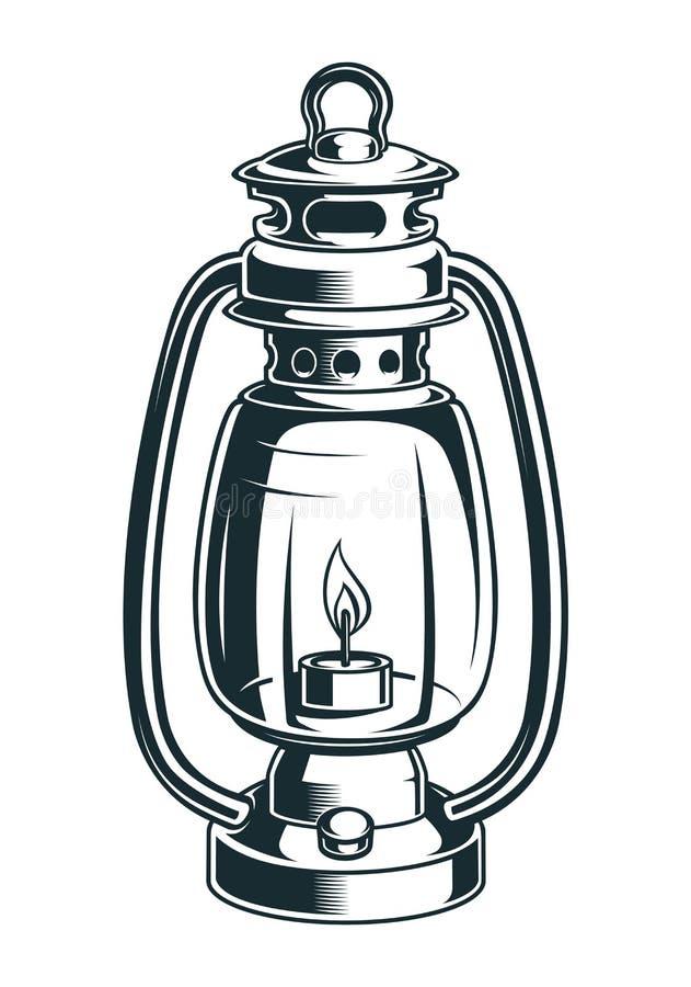 Ilustração do vetor de uma lâmpada de querosene no fundo claro ilustração do vetor