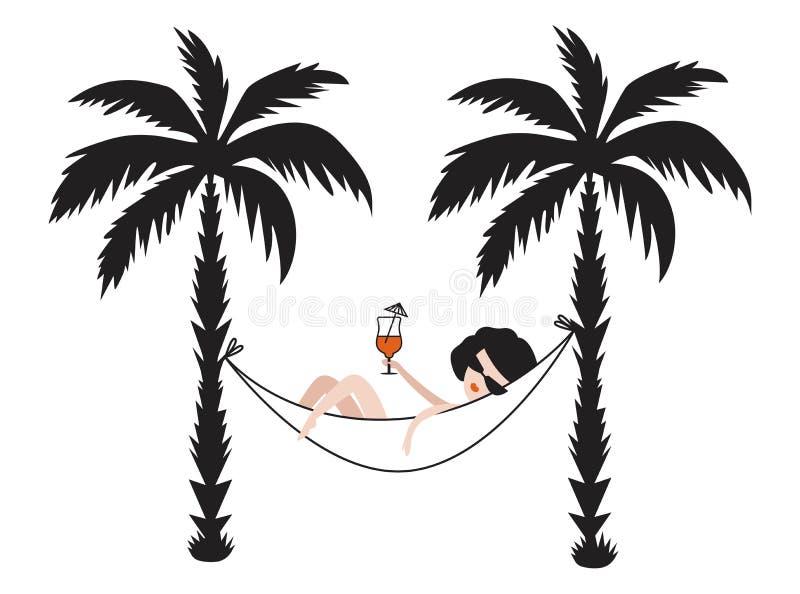 Ilustração do vetor de uma menina em uma rede com um cocktail ilustração royalty free