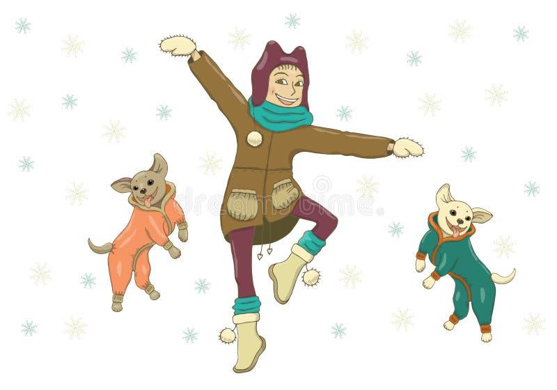 Ilustração do vetor de uma menina na roupa do inverno que anda com os cães nos macacões Salte, dance, exulte, ria, vestido fashio ilustração stock
