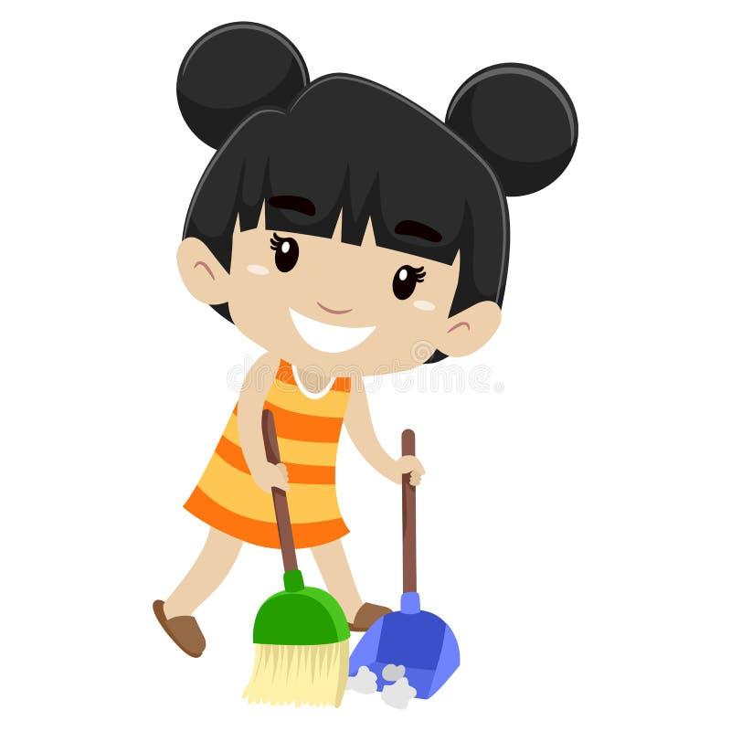Ilustração do vetor de uma menina que varre o assoalho ilustração do vetor