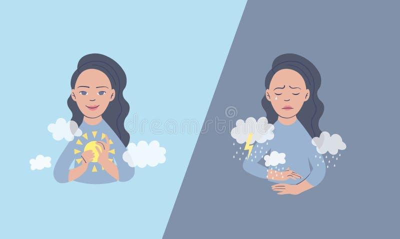 Ilustração do vetor de uma mulher no estado de ânimo depressivo Conceito da depressão e da frustração arte finala dedicada a ilustração stock