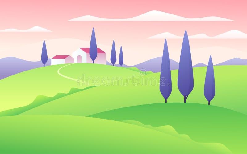Ilustração do vetor de uma paisagem rural do estilo liso do verão ilustração do vetor