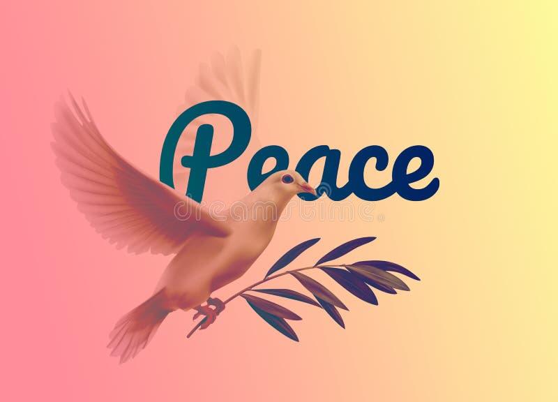 Ilustração do vetor de uma pomba e de um ramo de oliveira para o dia internacional da paz no fundo ilustração stock