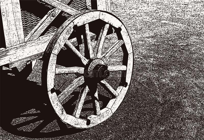 Ilustração do vetor de uma roda de madeira de um carro velho ilustração do vetor
