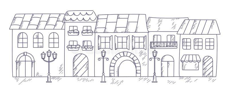 Ilustração do vetor de uma rua velha da cidade fotografia de stock