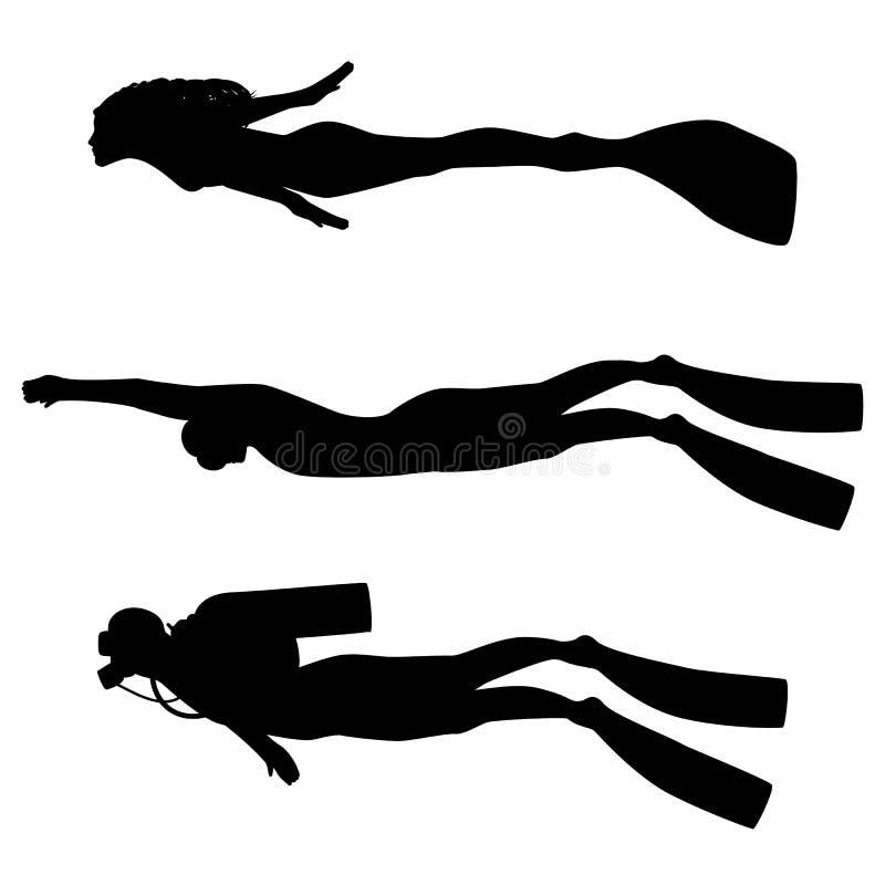 Ilustração do vetor de uma silhueta do mergulhador ilustração royalty free
