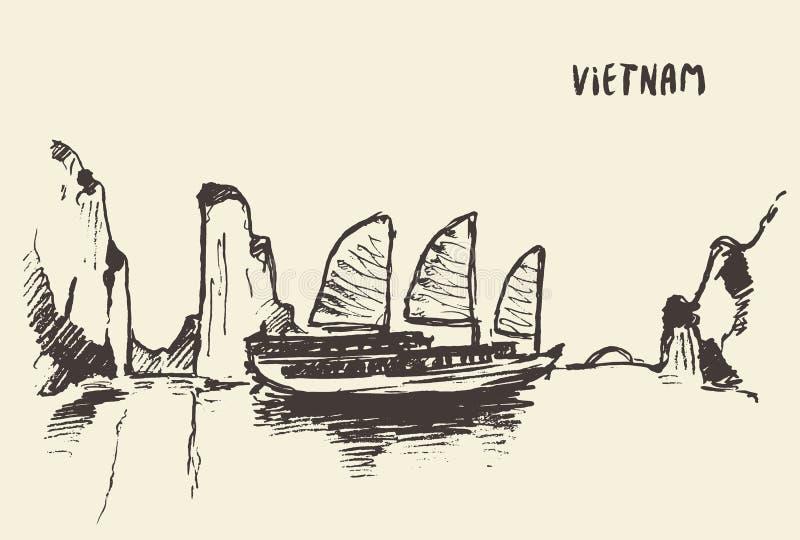 Ilustração do vetor de Vietname da baía de Halong do esboço ilustração stock