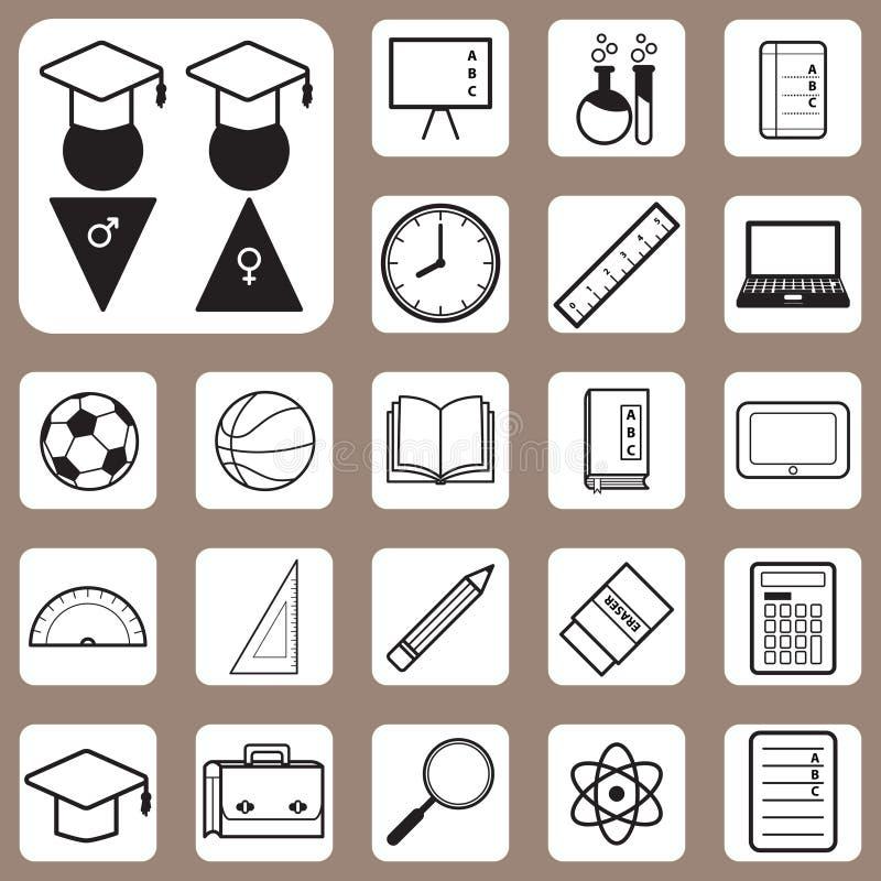 Ilustração do vetor, de volta ao ícone da escola para o projeto e criativo ilustração royalty free