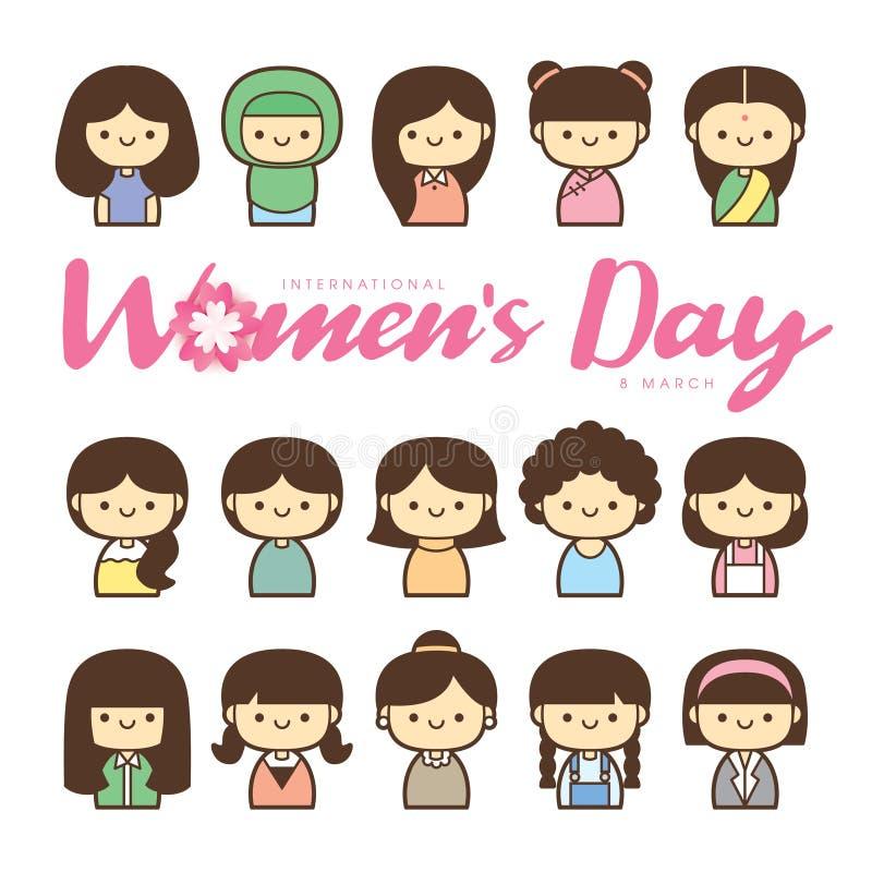 Ilustração do vetor do dia das mulheres de PrintInternational com grupo diverso de mulheres da idade, da raça e de equipamentos d ilustração do vetor