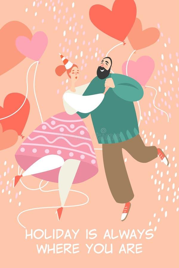 Ilustração do vetor do dia de Valentim com um par de dança feliz ilustração do vetor