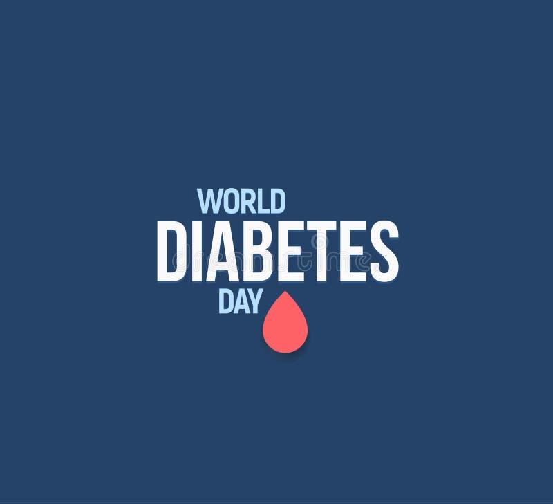 Ilustração do vetor do dia do diabetes do mundo Símbolo Mellitus do diabetes Gota vermelha do sangue, molde do logotipo da doença ilustração stock