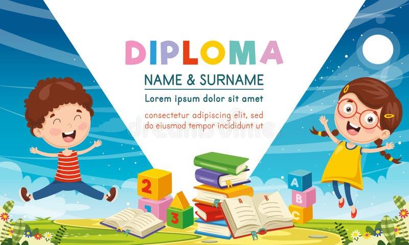 Ilustração do vetor do diploma das crianças ilustração royalty free