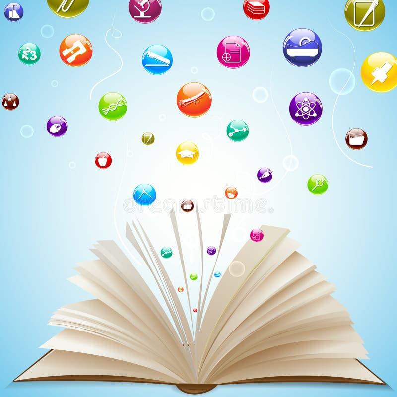 Ícone da educação que sai do livro aberto ilustração stock