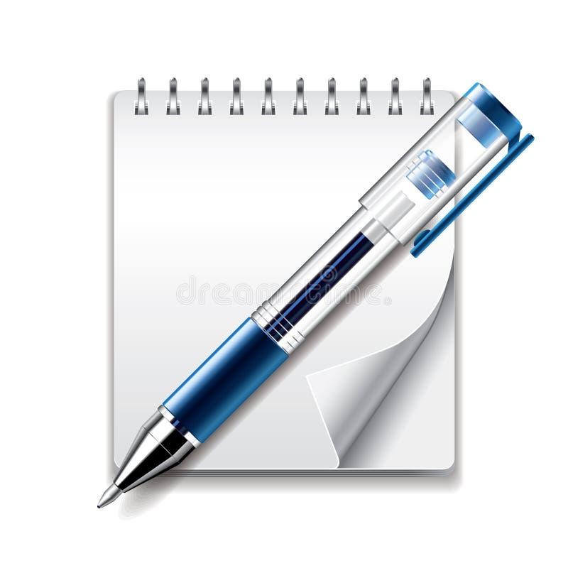 Ilustração do vetor do ícone da pena do bloco de notas e do gel ilustração stock