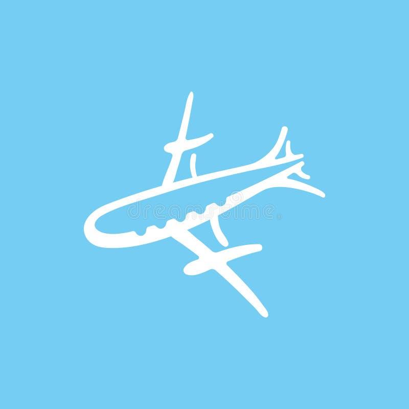 Ilustração do vetor do ícone do avião do esboço dos desenhos animados ilustração do vetor