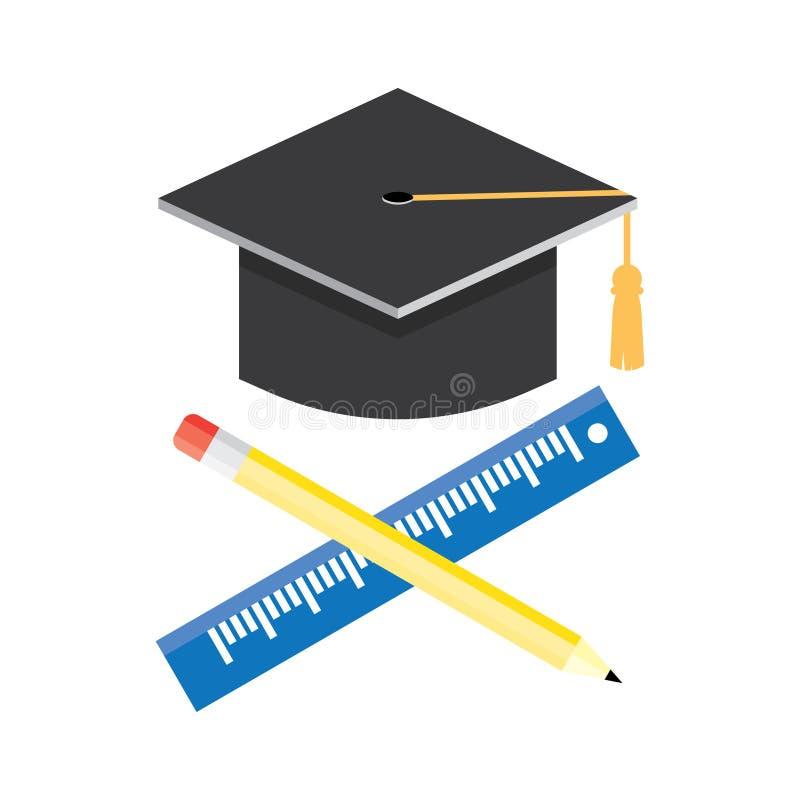 Ilustração do vetor do ícone do tampão da graduação ilustração stock