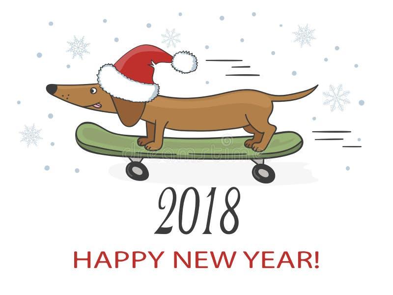 Ilustração do vetor do ano novo feliz 2018 com o cão bonito do bassê ilustração do vetor