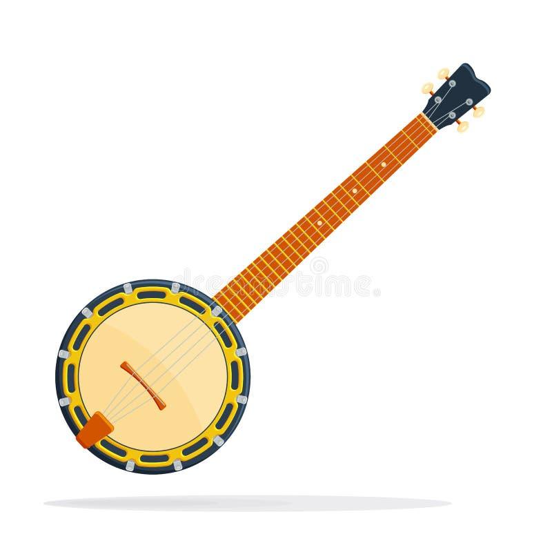 Ilustração do vetor do banjo do instrumento musical no fundo branco ilustração stock