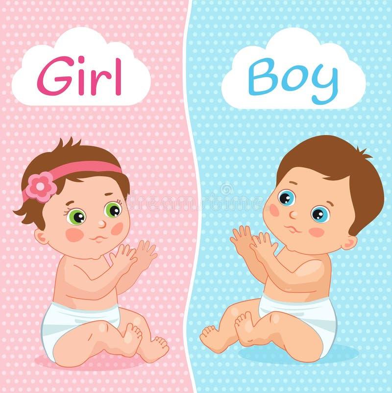 Ilustração do vetor do bebê e do bebê Dois bebês bonitos dos desenhos animados Cartão do convite da festa do bebé ilustração royalty free