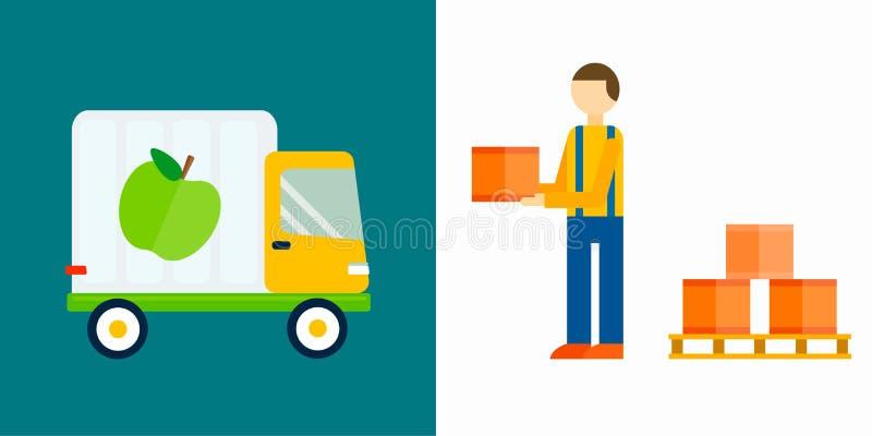 Ilustração do vetor do caminhão dos frutos da exportação da importação ilustração royalty free