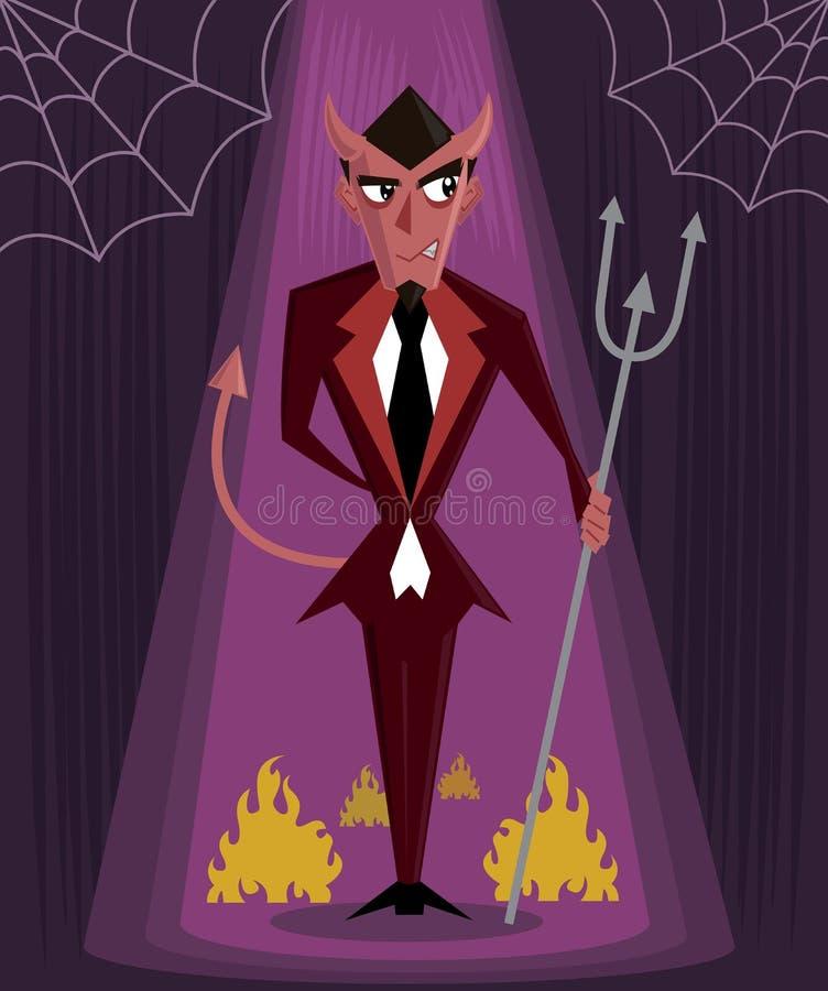 Ilustração do vetor do caráter de Halloween do homem do diabo ilustração royalty free